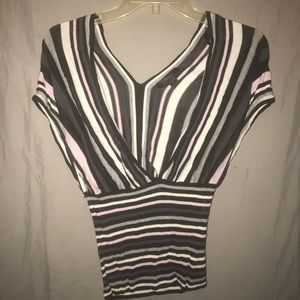 Express striped short sleeve sexy top